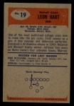 1955 Bowman #19   Leon Hart Back Thumbnail
