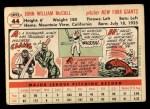 1956 Topps #44  Windy McCall  Back Thumbnail
