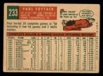 1959 Topps #233   Paul Foytack Back Thumbnail