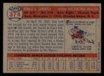 1957 Topps #374   Don Cardwell Back Thumbnail