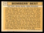 1963 Topps #173  Bomber's Best  -  Tom Tresh / Mickey Mantle / Bobby Richardson Back Thumbnail