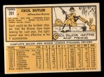 1963 Topps #201   Cecil Butler Back Thumbnail