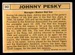1963 Topps #343  Johnny Pesky  Back Thumbnail