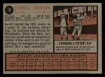 1962 Topps #16   Darrell Johnson Back Thumbnail