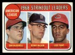 1969 Topps #11  1968 AL Strikeout Leaders    -  Sam McDowell / Denny McLain / Luis Tiant Front Thumbnail