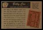 1955 Bowman #56  Billy Cox  Back Thumbnail