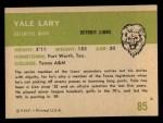 1961 Fleer #85  Yale Lary  Back Thumbnail
