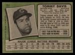 1971 Topps #151   Tommy Davis Back Thumbnail