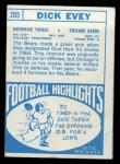 1968 Topps #205   Dick Evey Back Thumbnail