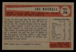 1954 Bowman #76   Joe Nuxhall Back Thumbnail