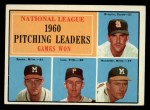 1961 Topps #47 COR NL Pitching Leaders  -  Warren Spahn / Ernie Broglio / Lew Burdette / Vern Law Front Thumbnail