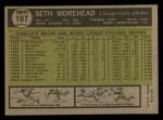 1961 Topps #107 COR  Seth Morehead Back Thumbnail