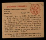 1950 Bowman #31  George Thomas  Back Thumbnail