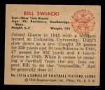 1950 Bowman #142  William Swiacki  Back Thumbnail