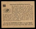 1938 Gum Inc. Horrors of War #90  Depth Bomb Sinking Pirate Submarine  Back Thumbnail