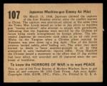 1938 Gum Inc. Horrors of War #107  Japanese Machine-gun Enemy Air Pilot  Back Thumbnail
