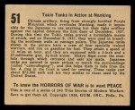 1938 Gum Inc. Horrors of War #51  Tokio Tanks in Action at Nanking  Back Thumbnail