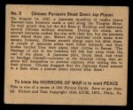 1938 Gum Inc. Horrors of War #5   Chinese Pursuers Shoot Down Jap Planes Back Thumbnail