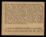 1938 Gum Inc. Horrors of War #20   Spanish Insurgents Bomb Government Territory Back Thumbnail