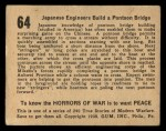 1938 Gum Inc. Horrors of War #64  Japanese Engineers Build Pontoon Bridge  Back Thumbnail