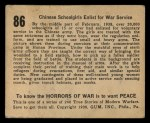 1938 Gum Inc. Horrors of War #86  Chinese Schoolgirls Enlist for War Service  Back Thumbnail