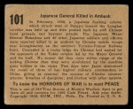 1938 Gum Inc. Horrors of War #101   Japanese General Killed in Ambush Back Thumbnail