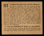 1938 Gum Inc. Horrors of War #117  Loyalists Surrender Arms and War Machines  Back Thumbnail