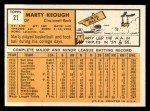 1963 Topps #21 *WHI* Marty Keough  Back Thumbnail