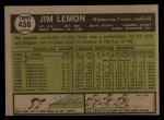 1961 Topps #450   Jim Lemon Back Thumbnail