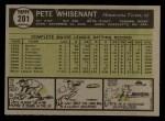1961 Topps #201   Pete Whisenant Back Thumbnail