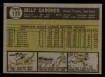 1961 Topps #123   Billy Gardner Back Thumbnail