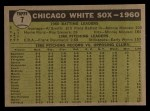 1961 Topps #7 WHI White Sox Team  Back Thumbnail