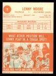 1963 Topps #2  Lenny Moore  Back Thumbnail