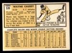 1963 Topps #539   Wayne Causey Back Thumbnail