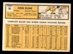 1963 Topps #84   Ron Kline Back Thumbnail