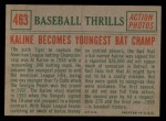 1959 Topps #463  Kaline Becomes Youngest Bat Champ  -  Al Kaline Back Thumbnail