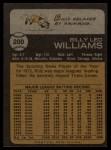 1973 Topps #200   Billy Williams Back Thumbnail