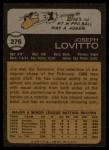 1973 Topps #276   Joe Lovitto Back Thumbnail