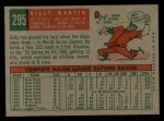 1959 Topps #295   Billy Martin Back Thumbnail