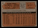 1972 Topps #31   Cleon Jones Back Thumbnail