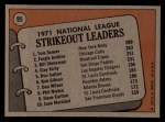 1972 Topps #95  NL Strikeout Leaders    -  Fergie Jenkins / Tom Seaver / Bil Stoneman Back Thumbnail