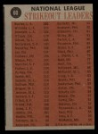 1962 Topps #60  1961 NL Strikeout Leaders  -  Sandy Koufax / Stan Williams / Don Drysdale / Jim O'Toole Back Thumbnail
