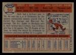 1957 Topps #50   Herb Score Back Thumbnail