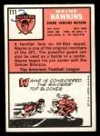 1966 Topps #111   Wayne Hawkins Back Thumbnail