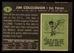 1969 Topps #8   Jim Colclough Back Thumbnail