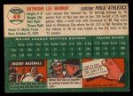 1954 Topps #49   Ray Murray Back Thumbnail