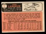 1966 Topps #43 ERR 2  Don Landrum Back Thumbnail