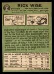 1967 Topps #37  Rick Wise  Back Thumbnail