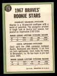 1967 Topps #179  Braves Rookies  -  Cecil Upshaw / Charles Vaughan Back Thumbnail