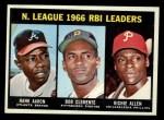 1967 Topps #242  1966 NL RBI Leaders  -  Hank Aaron / Dick Allen / Roberto Bob Clemente Front Thumbnail
